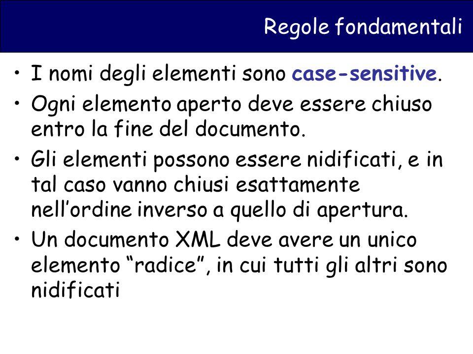 Regole fondamentali I nomi degli elementi sono case-sensitive.