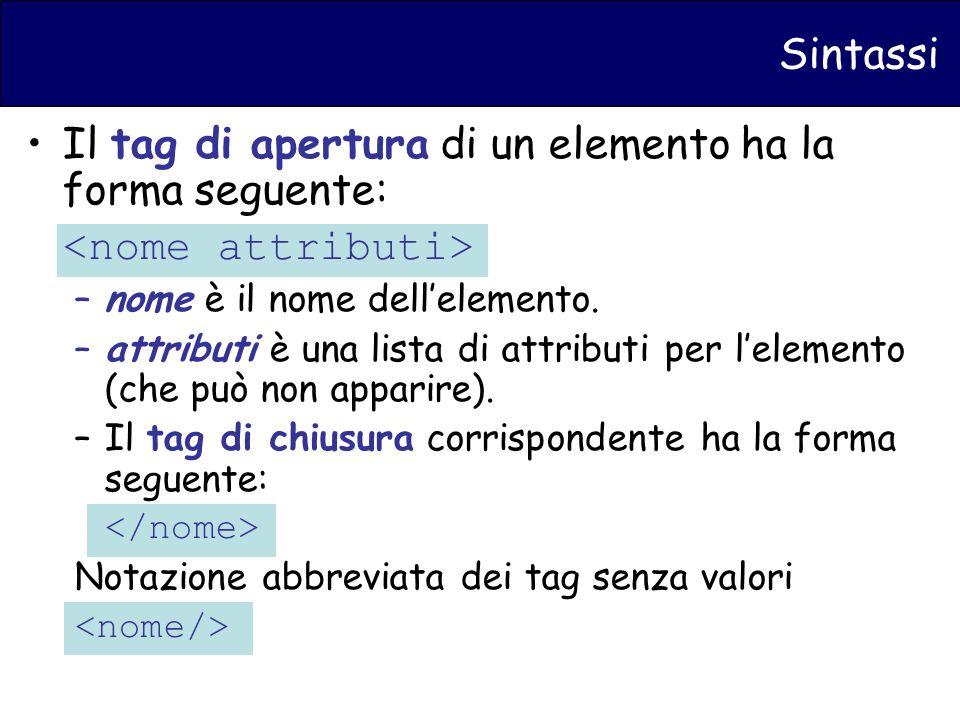 Sintassi Il tag di apertura di un elemento ha la forma seguente: –nome è il nome dellelemento.