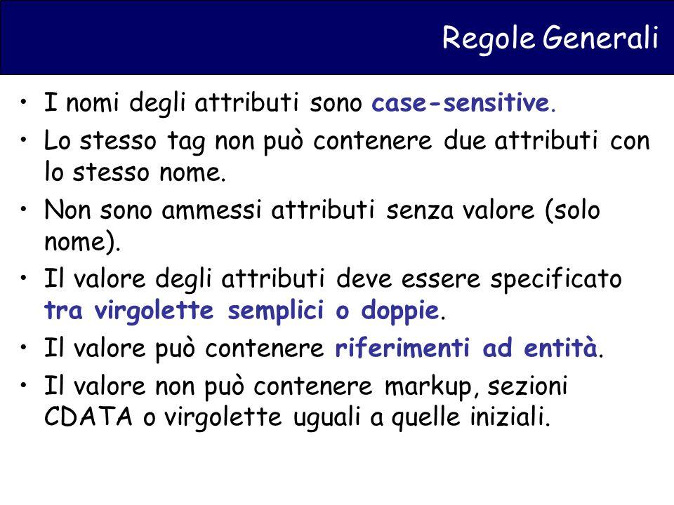 Regole Generali I nomi degli attributi sono case-sensitive.