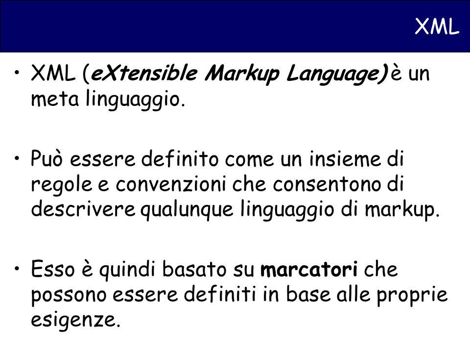 XML XML (eXtensible Markup Language) è un meta linguaggio.