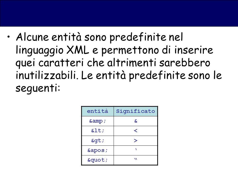 Alcune entità sono predefinite nel linguaggio XML e permettono di inserire quei caratteri che altrimenti sarebbero inutilizzabili.