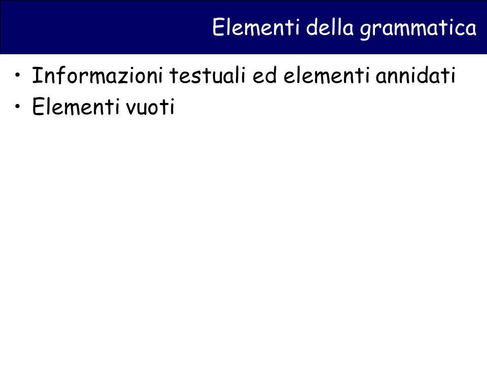Elementi della grammatica Informazioni testuali ed elementi annidati Elementi vuoti