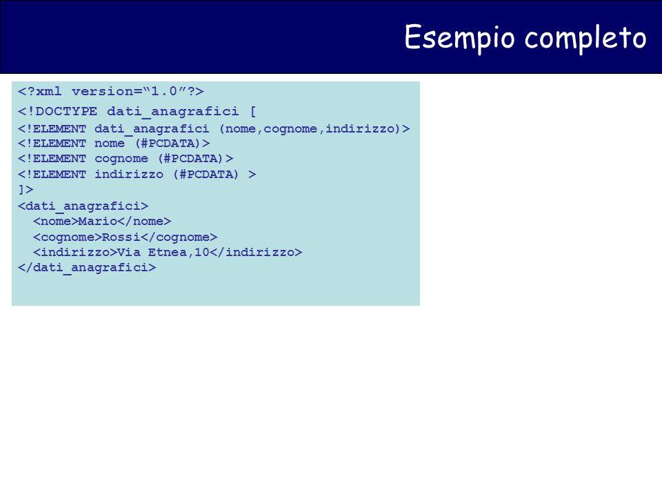 Esempio completo <!DOCTYPE dati_anagrafici [ ]> Mario Rossi Via Etnea,10
