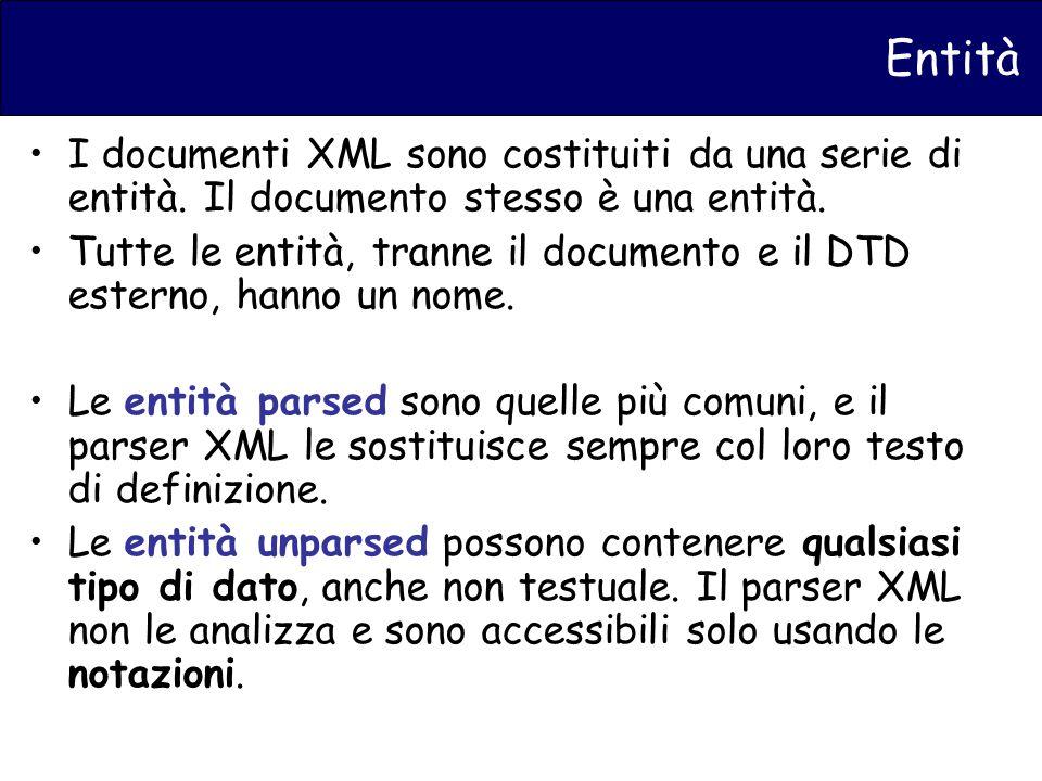 Entità I documenti XML sono costituiti da una serie di entità.