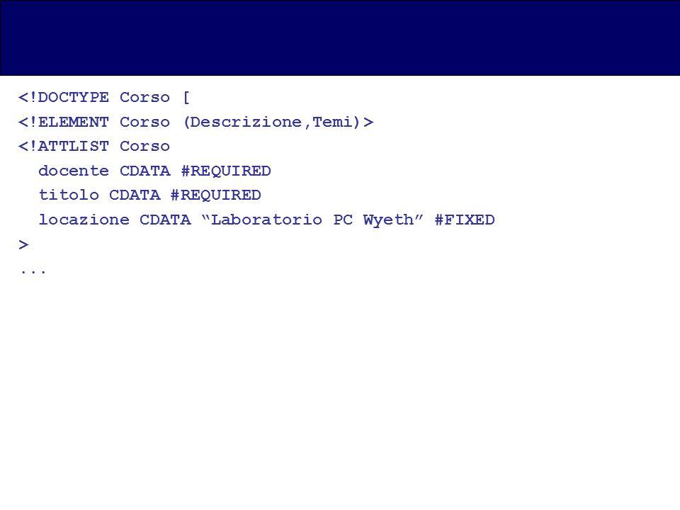 <!DOCTYPE Corso [ <!ATTLIST Corso docente CDATA #REQUIRED titolo CDATA #REQUIRED locazione CDATA Laboratorio PC Wyeth #FIXED >...