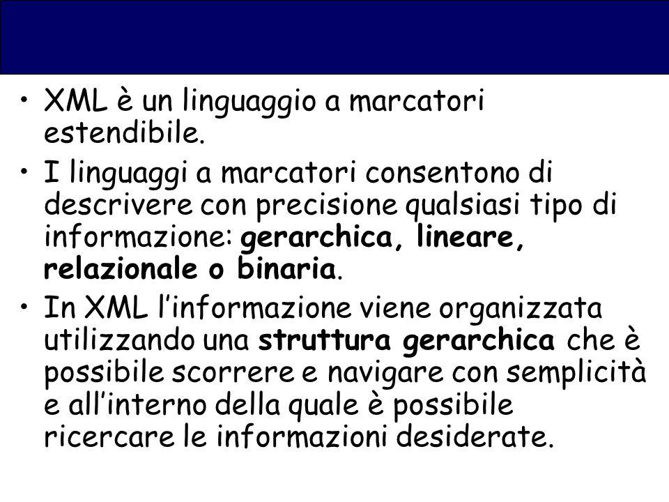 XML è un linguaggio a marcatori estendibile.