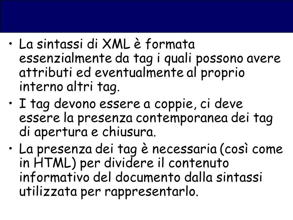La sintassi di XML è formata essenzialmente da tag i quali possono avere attributi ed eventualmente al proprio interno altri tag.