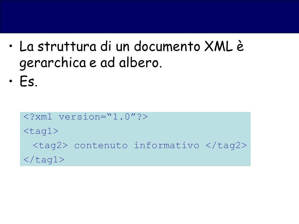 La struttura di un documento XML è gerarchica e ad albero. Es. contenuto informativo