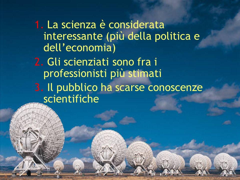 1. La scienza è considerata interessante (più della politica e delleconomia) 2.