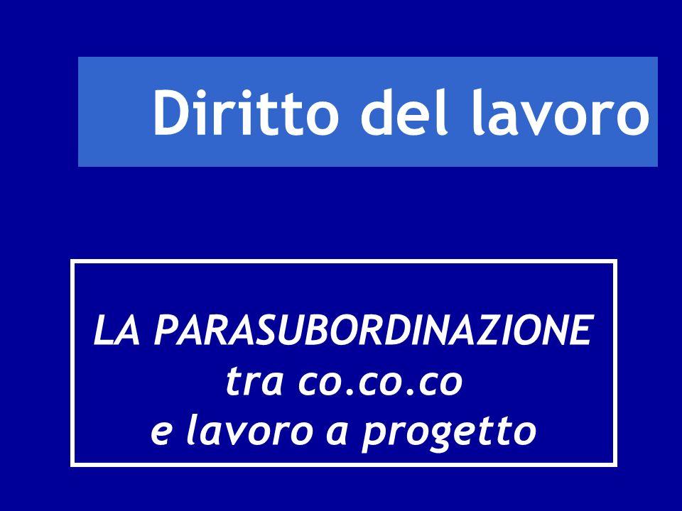 Diritto del lavoro LA PARASUBORDINAZIONE tra co.co.co e lavoro a progetto