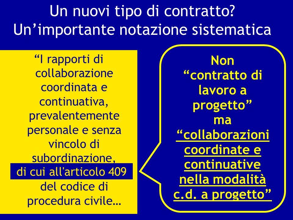 Un nuovi tipo di contratto? Unimportante notazione sistematica I rapporti di collaborazione coordinata e continuativa, prevalentemente personale e sen