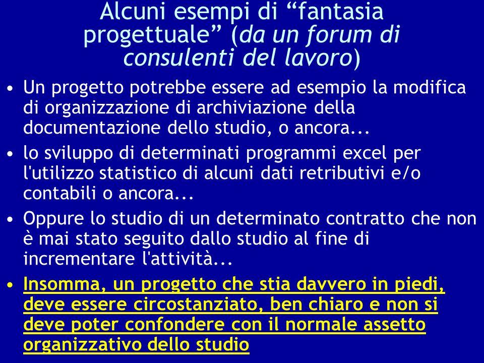 Alcuni esempi di fantasia progettuale (da un forum di consulenti del lavoro) Un progetto potrebbe essere ad esempio la modifica di organizzazione di a