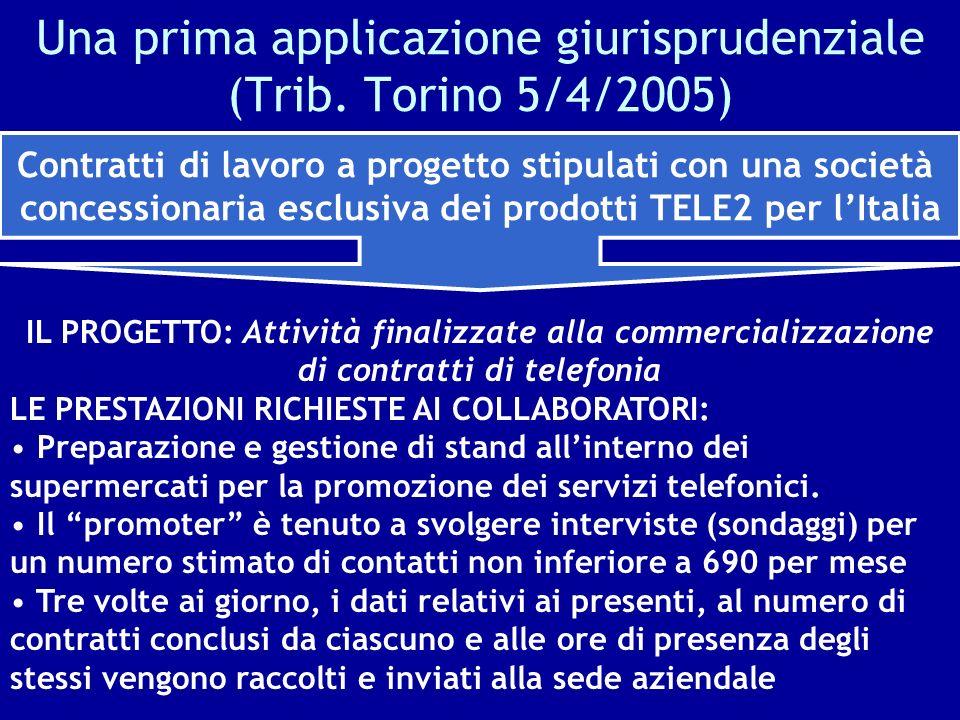 Una prima applicazione giurisprudenziale (Trib. Torino 5/4/2005) IL PROGETTO: Attività finalizzate alla commercializzazione di contratti di telefonia
