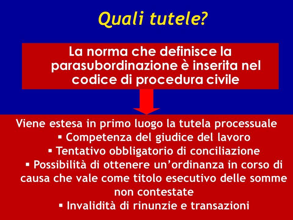 Quali tutele? La norma che definisce la parasubordinazione è inserita nel codice di procedura civile Viene estesa in primo luogo la tutela processuale