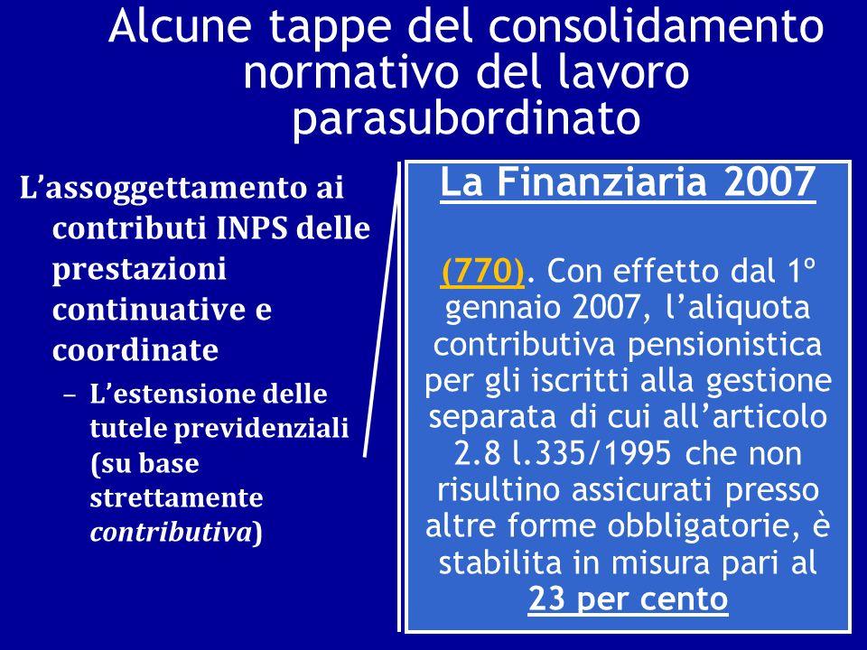 Alcune tappe del consolidamento normativo del lavoro parasubordinato Lassoggettamento ai contributi INPS delle prestazioni continuative e coordinate –