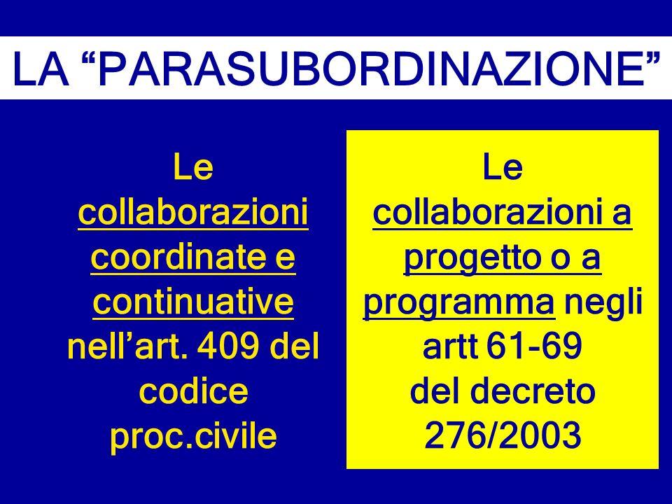 Le collaborazioni coordinate e continuative nellart. 409 del codice proc.civile LA PARASUBORDINAZIONE Le collaborazioni a progetto o a programma negli