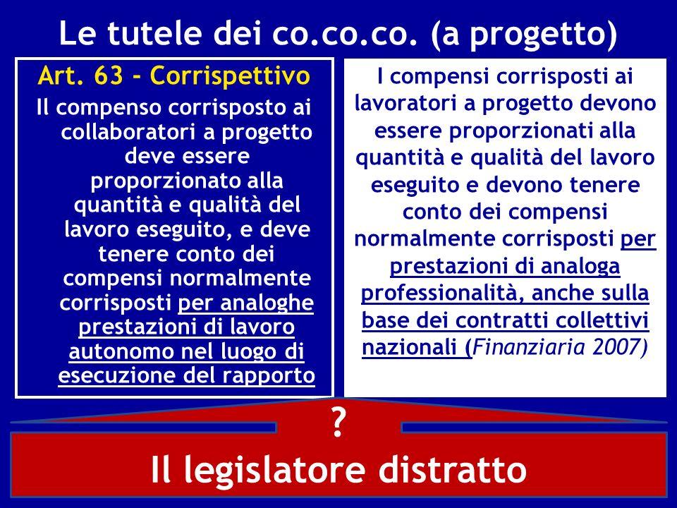 Le tutele dei co.co.co. (a progetto) Art. 63 - Corrispettivo Il compenso corrisposto ai collaboratori a progetto deve essere proporzionato alla quanti