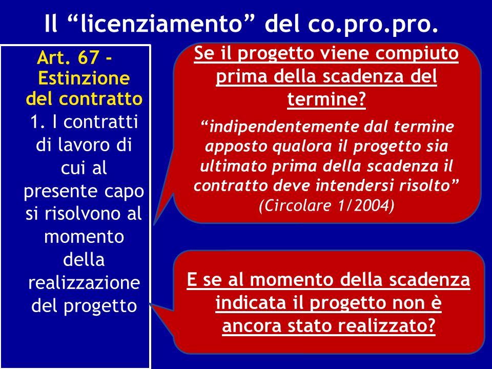 Il licenziamento del co.pro.pro. Art. 67 - Estinzione del contratto 1. I contratti di lavoro di cui al presente capo si risolvono al momento della rea