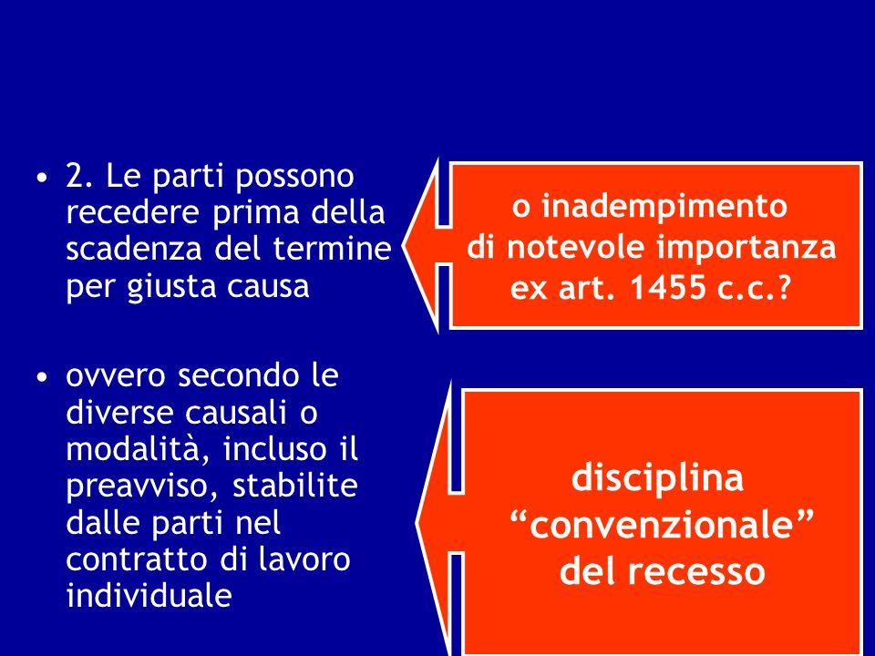 2. Le parti possono recedere prima della scadenza del termine per giusta causa ovvero secondo le diverse causali o modalità, incluso il preavviso, sta