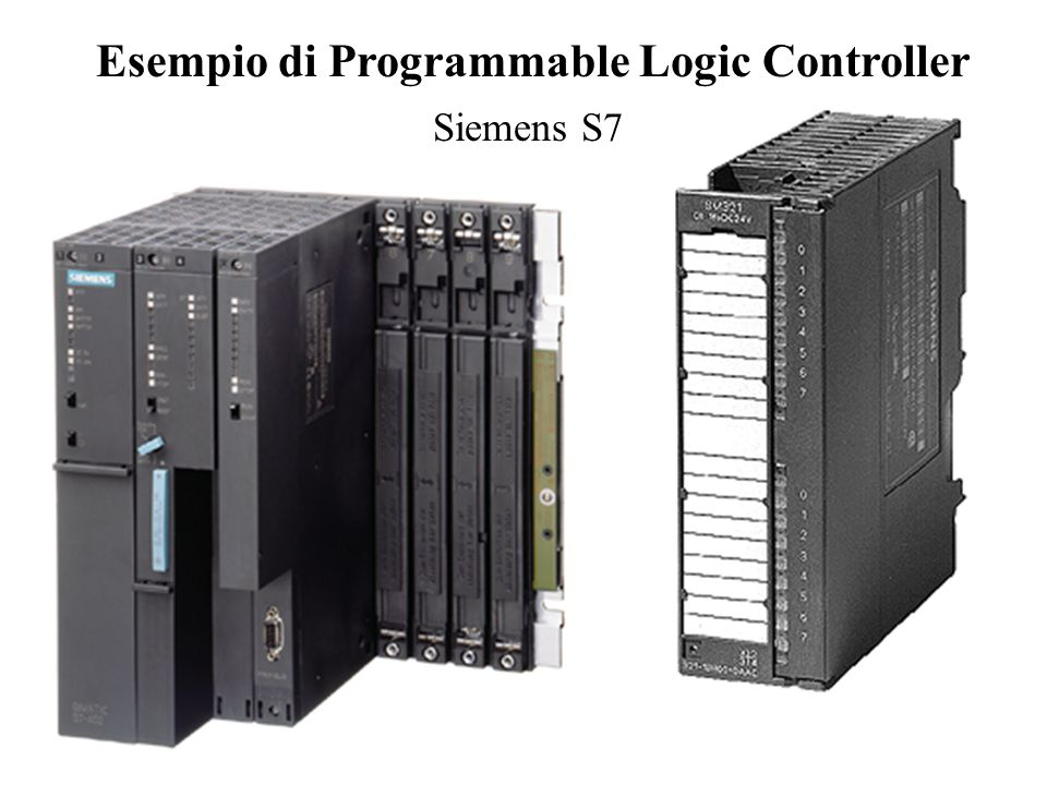 Principi di Funzionamento di un PLC Lettura degli ingressi Aggiornamento delle Uscite Programma Copia Ingressi in RAM Copia dalla RAM verso le Uscite Uso della RAM in accordo al programma Program Scan: tipicamente 2-3 ms per Kbyte di programma Program Scan