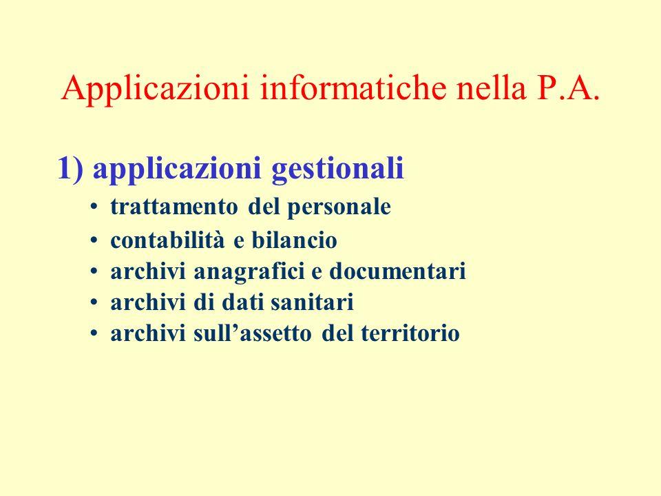 Applicazioni informatiche nella P.A. 1) applicazioni gestionali trattamento del personale contabilità e bilancio archivi anagrafici e documentari arch
