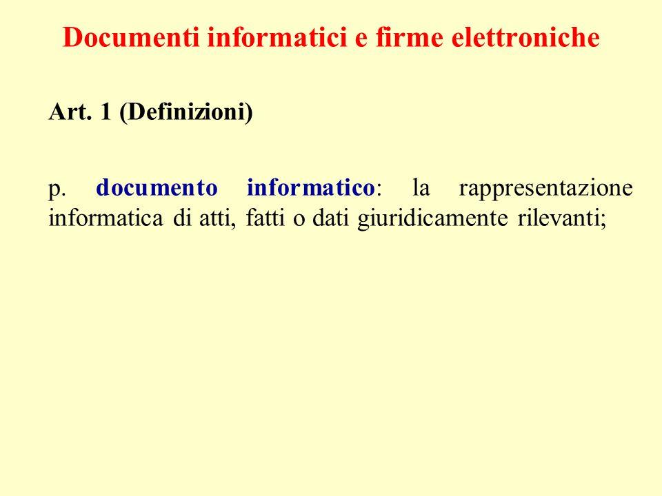 Documenti informatici e firme elettroniche Art. 1 (Definizioni) p. documento informatico: la rappresentazione informatica di atti, fatti o dati giurid