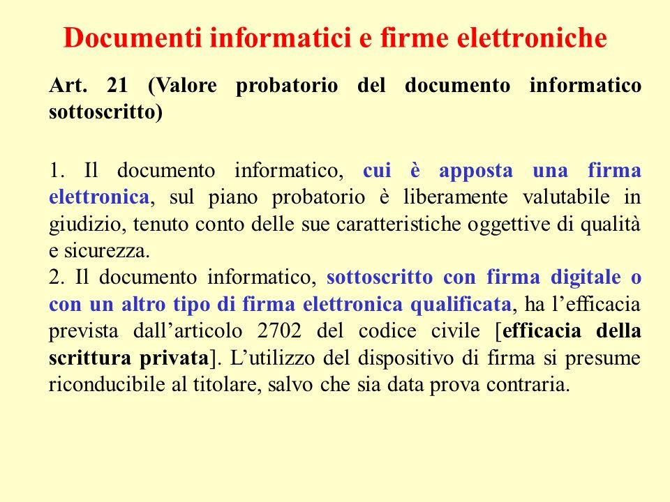 Documenti informatici e firme elettroniche Art. 21 (Valore probatorio del documento informatico sottoscritto) 1. Il documento informatico, cui è appos