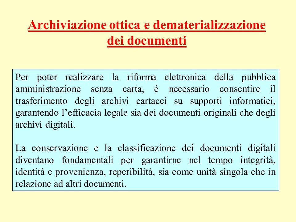 Archiviazione ottica e dematerializzazione dei documenti Per poter realizzare la riforma elettronica della pubblica amministrazione senza carta, è nec