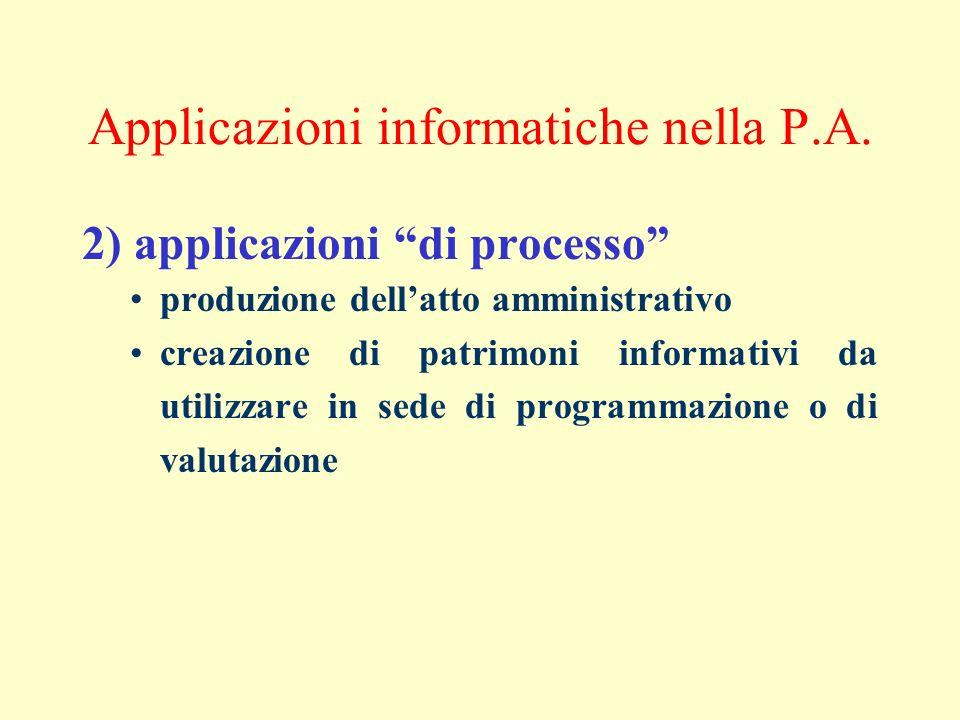 Applicazioni informatiche nella P.A. 2) applicazioni di processo produzione dellatto amministrativo creazione di patrimoni informativi da utilizzare i