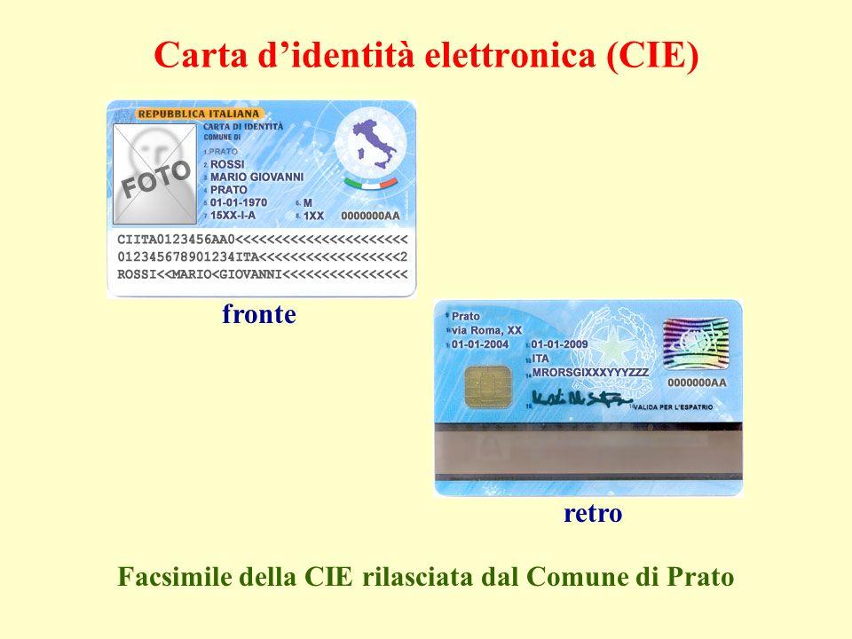 fronteretro Facsimile della CIE rilasciata dal Comune di Prato