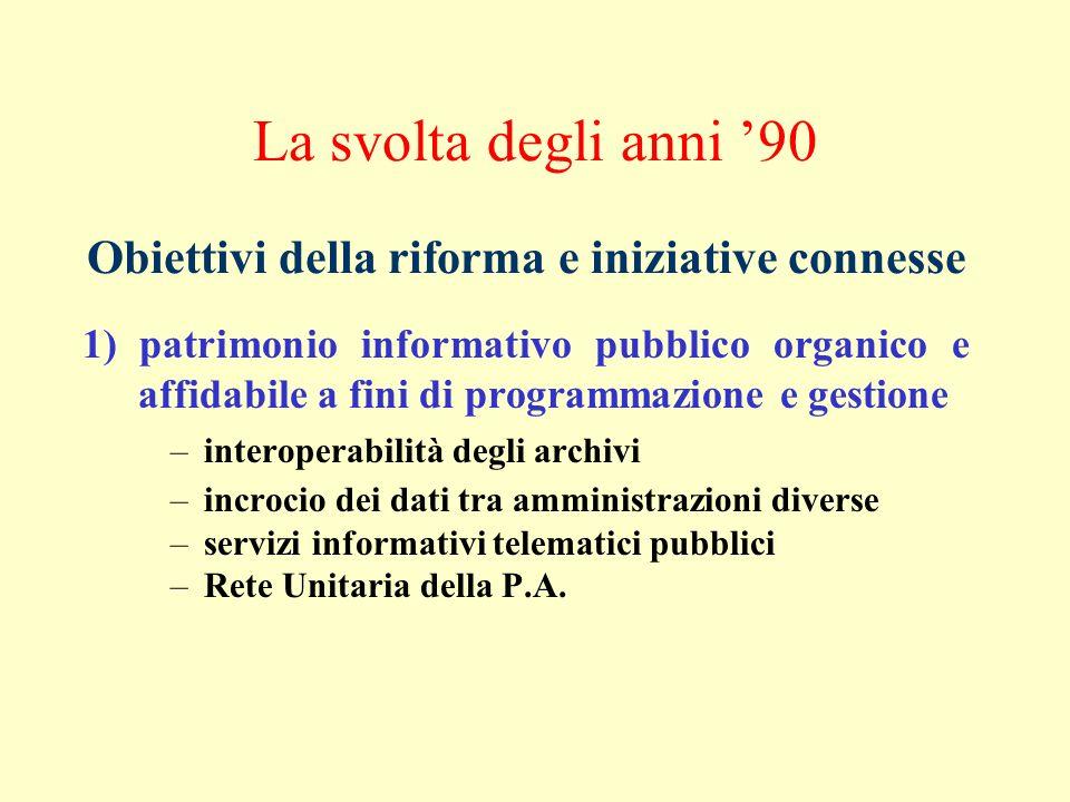 La svolta degli anni 90 1) patrimonio informativo pubblico organico e affidabile a fini di programmazione e gestione –interoperabilità degli archivi –