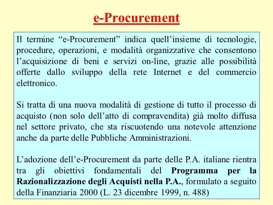 e-Procurement Il termine e-Procurement indica quellinsieme di tecnologie, procedure, operazioni, e modalità organizzative che consentono lacquisizione