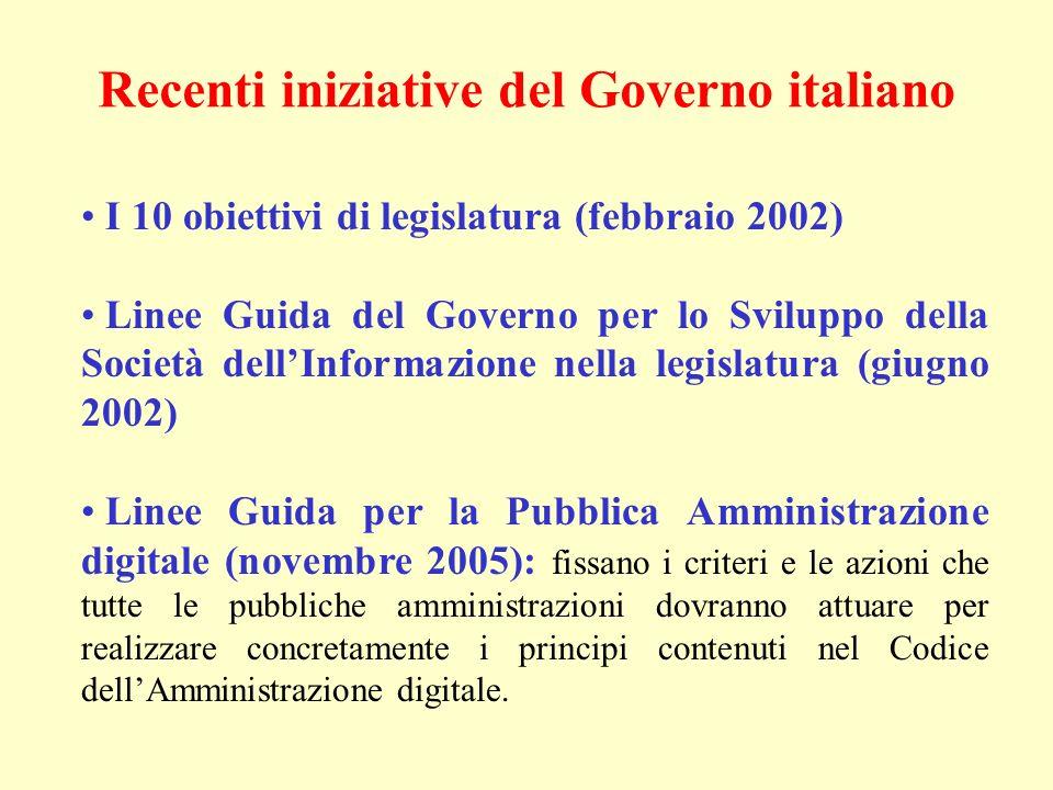Recenti iniziative del Governo italiano I 10 obiettivi di legislatura (febbraio 2002) Linee Guida del Governo per lo Sviluppo della Società dellInform