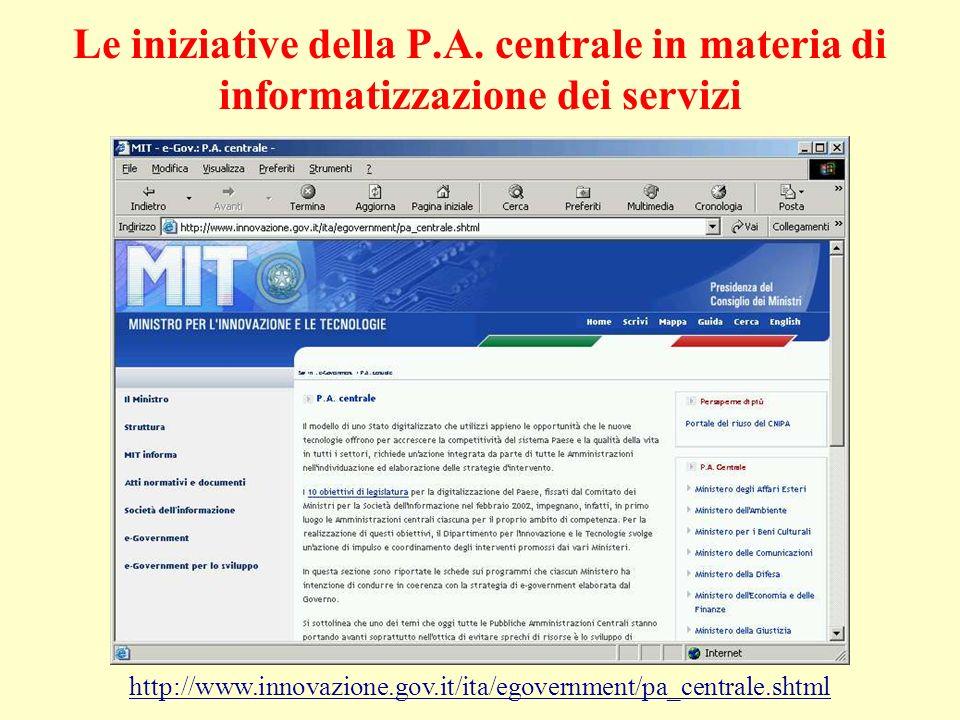 Le iniziative della P.A. centrale in materia di informatizzazione dei servizi http://www.innovazione.gov.it/ita/egovernment/pa_centrale.shtml