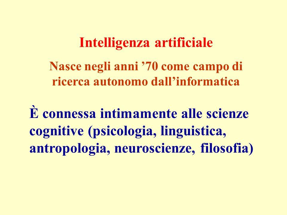 Intelligenza artificiale Nasce negli anni 70 come campo di ricerca autonomo dallinformatica È connessa intimamente alle scienze cognitive (psicologia,