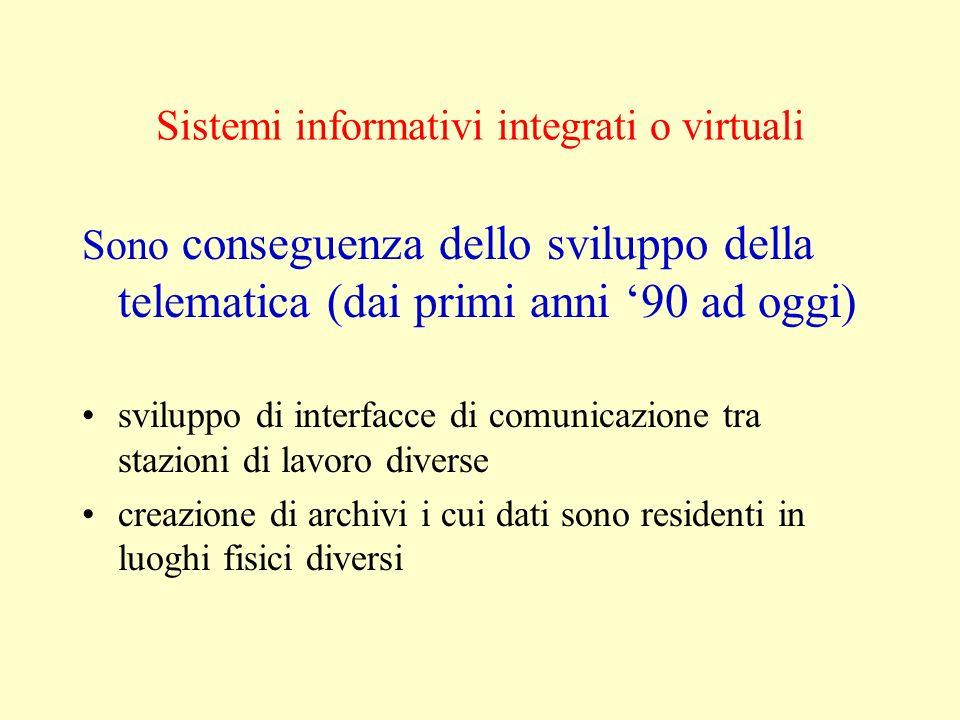 Sistemi informativi integrati o virtuali Sono conseguenza dello sviluppo della telematica (dai primi anni 90 ad oggi) sviluppo di interfacce di comuni