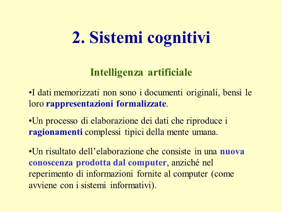 2. Sistemi cognitivi I dati memorizzati non sono i documenti originali, bensì le loro rappresentazioni formalizzate. Un processo di elaborazione dei d