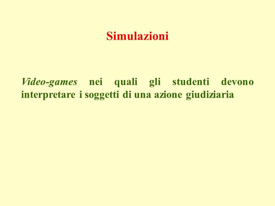 Simulazioni Video-games nei quali gli studenti devono interpretare i soggetti di una azione giudiziaria