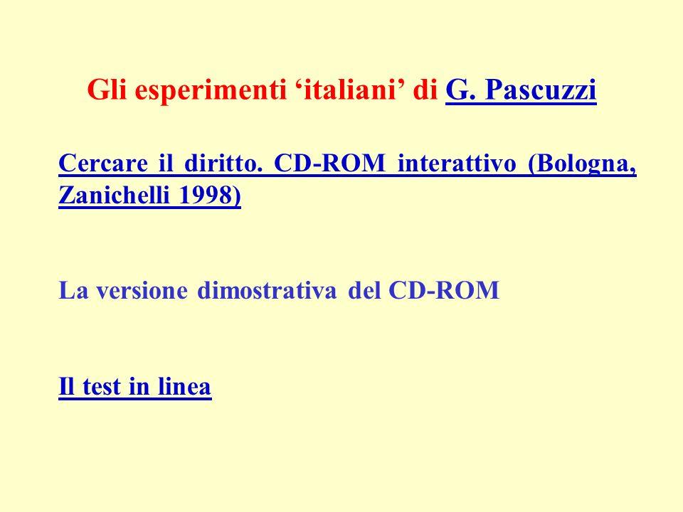Gli esperimenti italiani di G. PascuzziG. Pascuzzi Cercare il diritto. CD-ROM interattivo (Bologna, Zanichelli 1998) La versione dimostrativa del CD-R
