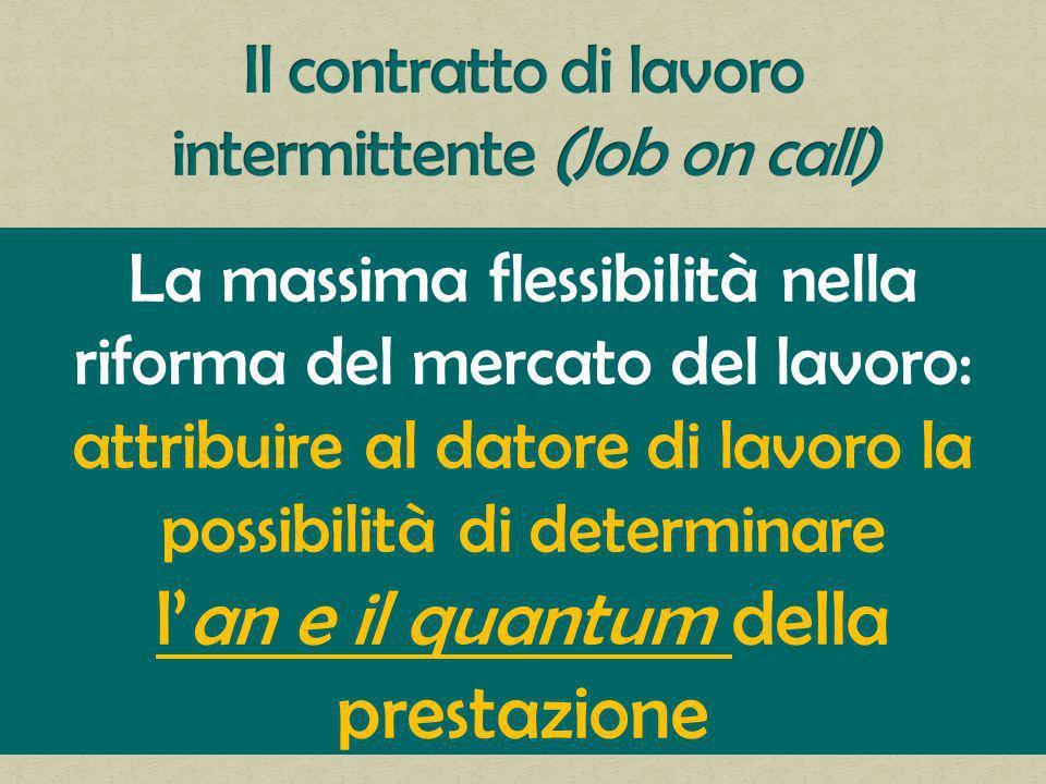 La massima flessibilità nella riforma del mercato del lavoro: attribuire al datore di lavoro la possibilità di determinare lan e il quantum della prestazione