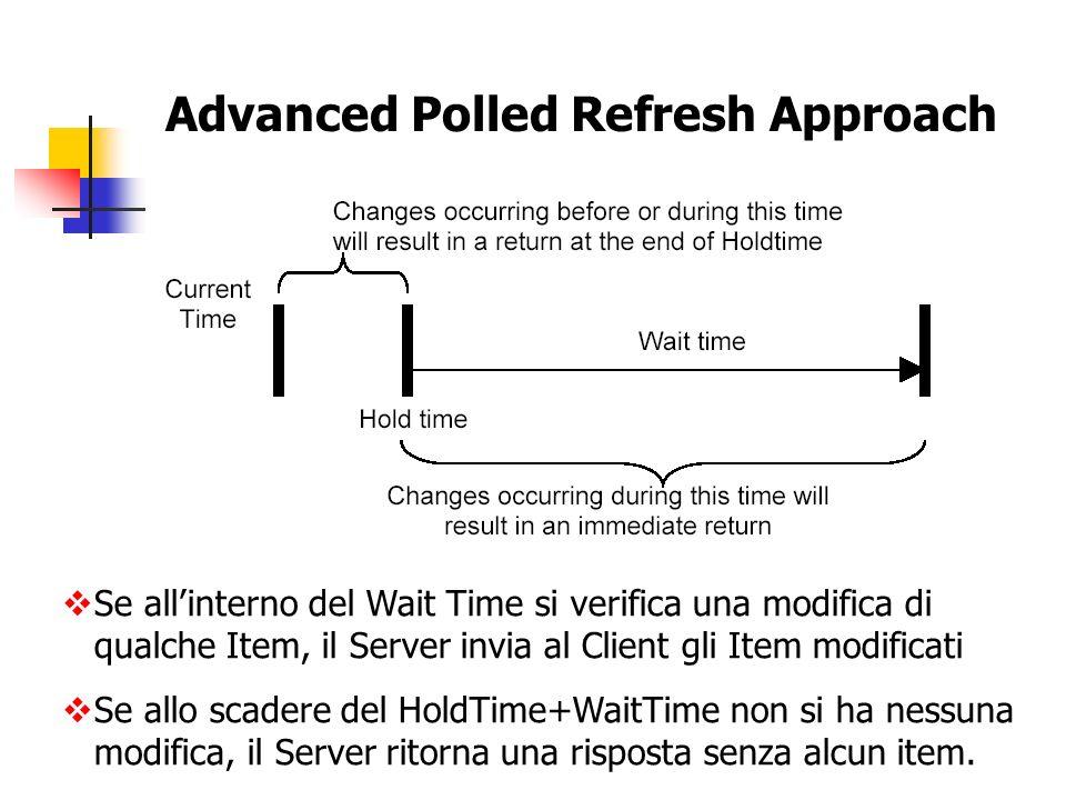 Advanced Polled Refresh Approach Se allinterno del Wait Time si verifica una modifica di qualche Item, il Server invia al Client gli Item modificati S