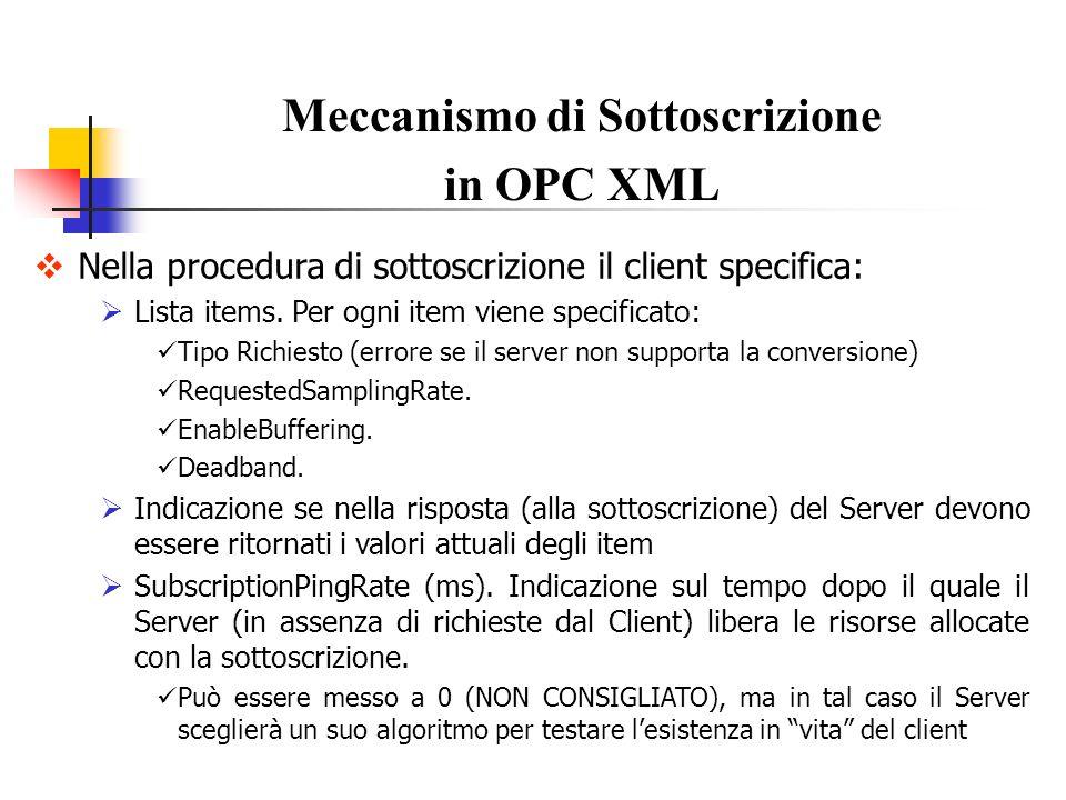Nella procedura di sottoscrizione il client specifica: Lista items. Per ogni item viene specificato: Tipo Richiesto (errore se il server non supporta