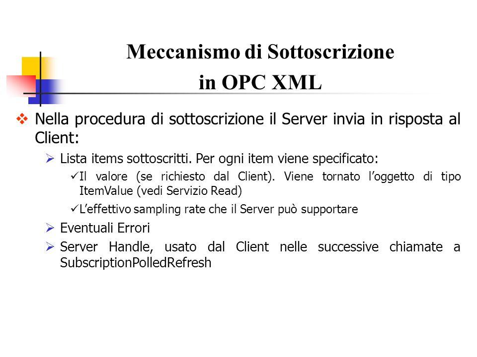 Nella procedura di sottoscrizione il Server invia in risposta al Client: Lista items sottoscritti. Per ogni item viene specificato: Il valore (se rich