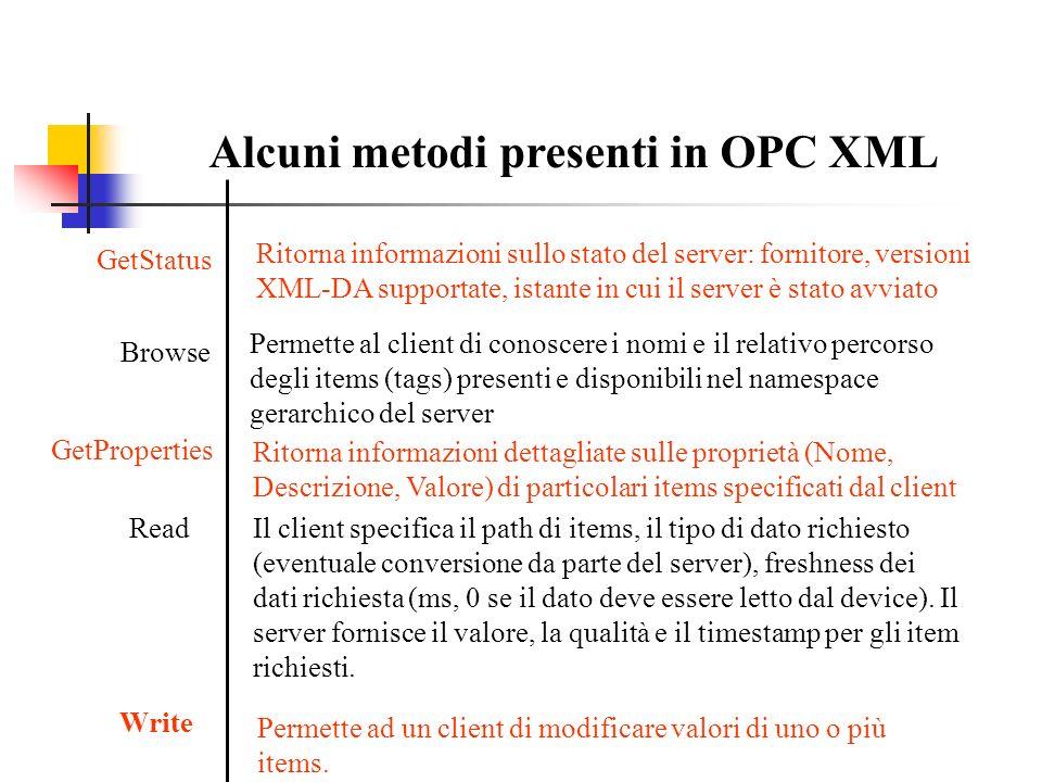 Alcuni metodi presenti in OPC XML Browse Permette al client di conoscere i nomi e il relativo percorso degli items (tags) presenti e disponibili nel n