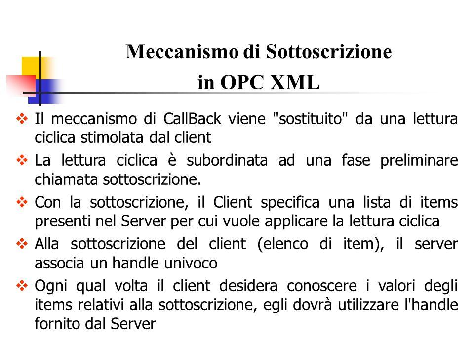 Meccanismo di Sottoscrizione in OPC XML Subscribe Permette ad un Client di specificare una lista di items per i quali il client vuole essere continuamente aggiornato.