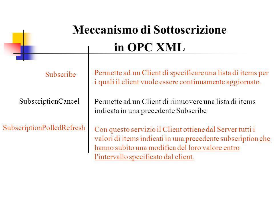 Meccanismo di Sottoscrizione in OPC XML Subscribe Permette ad un Client di specificare una lista di items per i quali il client vuole essere continuam