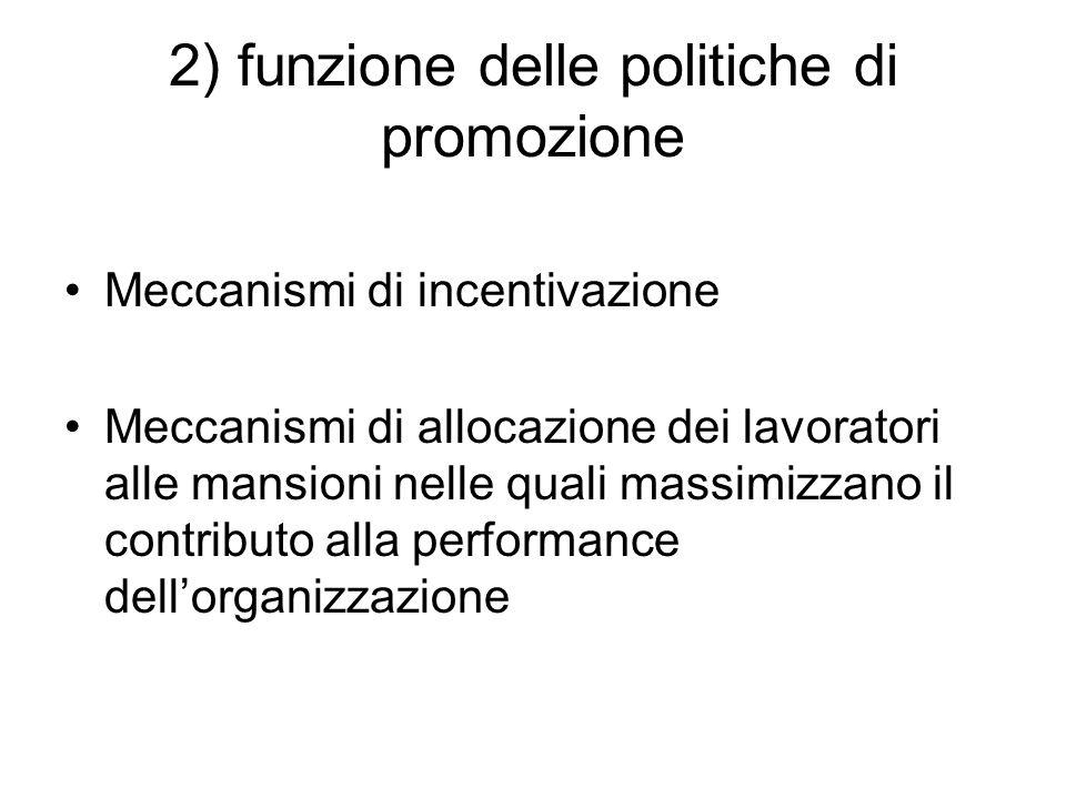 2) funzione delle politiche di promozione Meccanismi di incentivazione Meccanismi di allocazione dei lavoratori alle mansioni nelle quali massimizzano