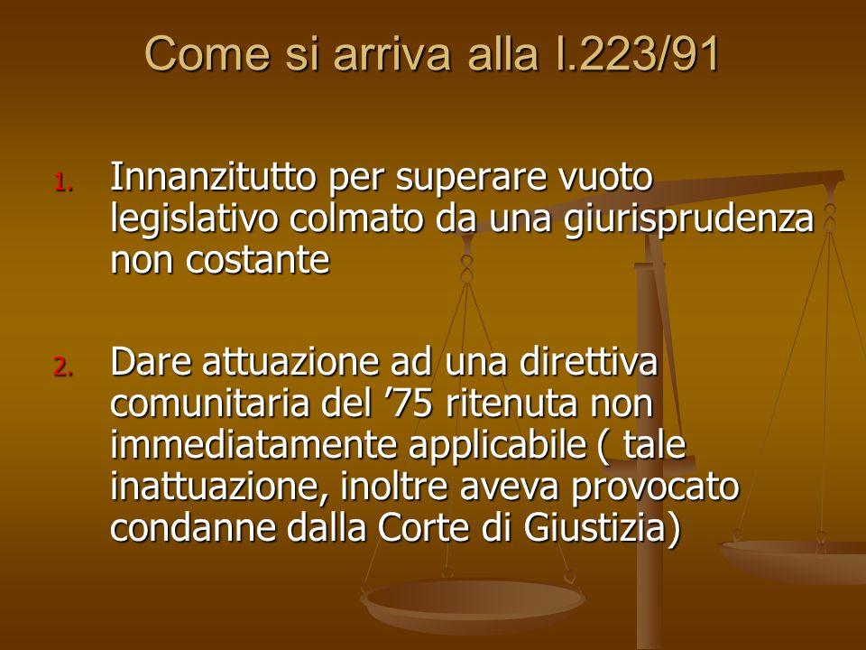 Come si arriva alla l.223/91 1. Innanzitutto per superare vuoto legislativo colmato da una giurisprudenza non costante 2. Dare attuazione ad una diret