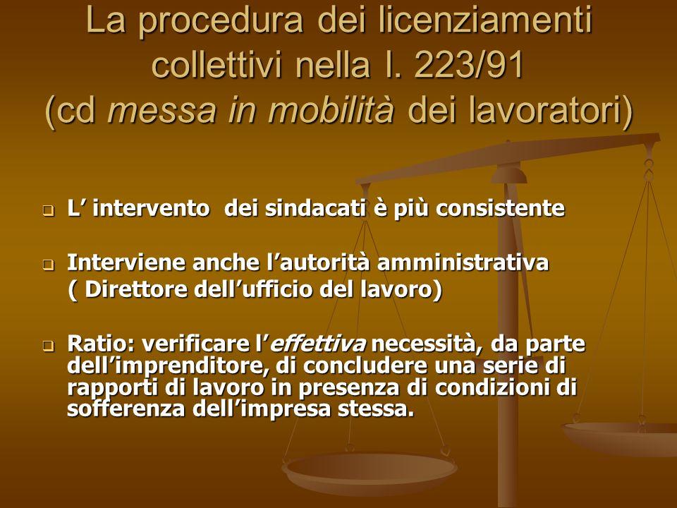 La procedura dei licenziamenti collettivi nella l. 223/91 (cd messa in mobilità dei lavoratori) L intervento dei sindacati è più consistente L interve