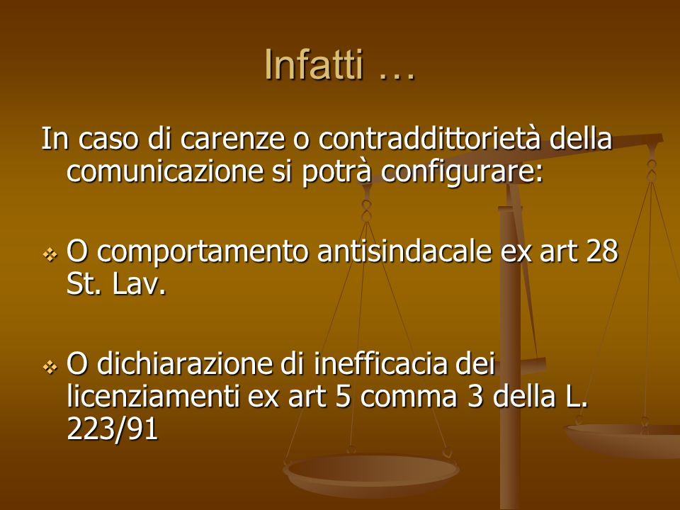 Infatti … In caso di carenze o contraddittorietà della comunicazione si potrà configurare: O comportamento antisindacale ex art 28 St. Lav. O comporta